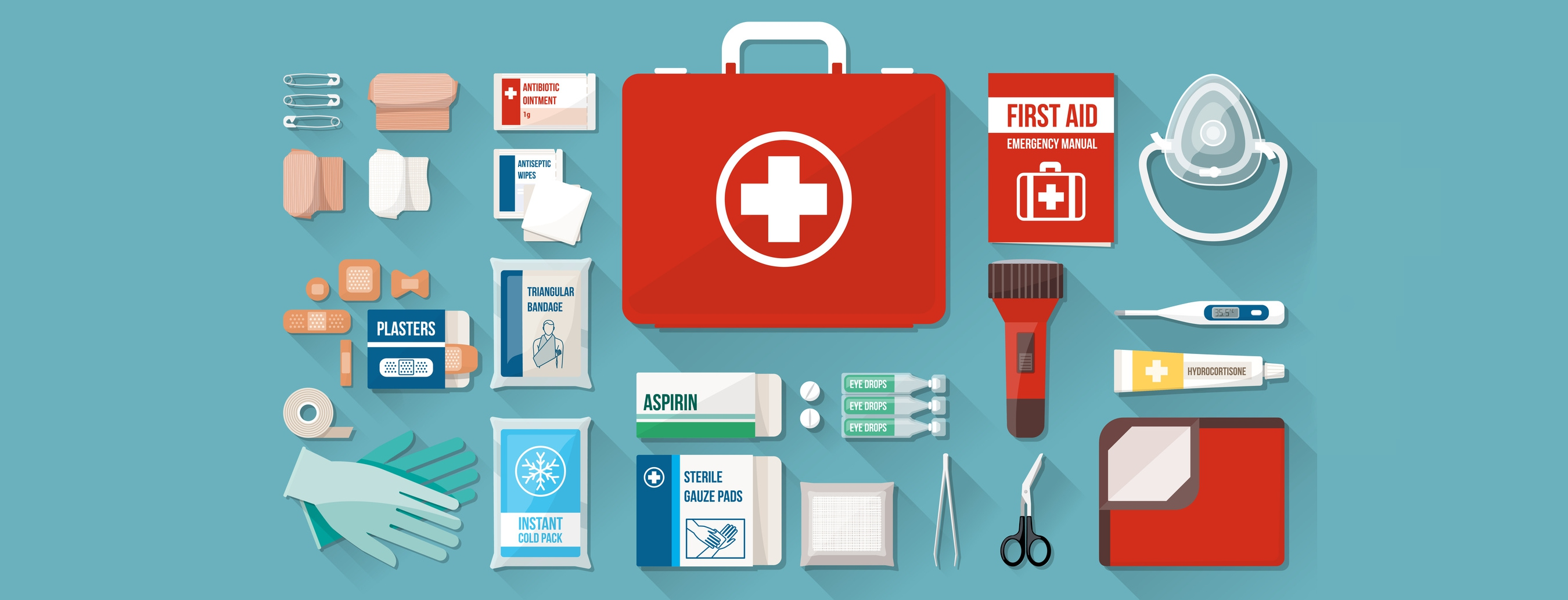 first ad items, first aid kit items, thing in a kit, things in a first aid kit